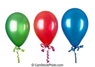 inflável, branca, balões, isolado, fundo