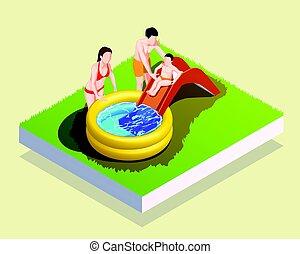 inflável, piscina, família, composição