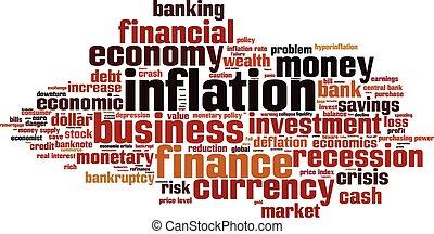 inflação, palavra, nuvem