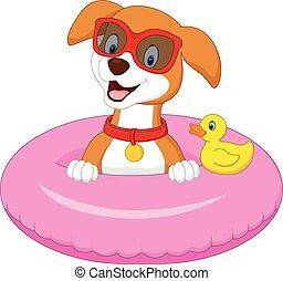 inflable, caricatura, anillo, perro