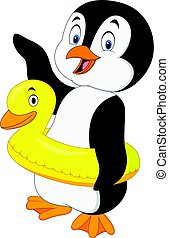 inflable, caricatura, anillo, pingüino