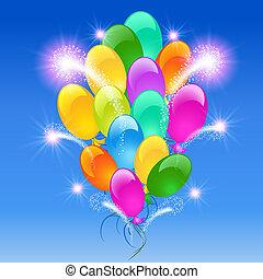 inflable, fuego artificial, globos