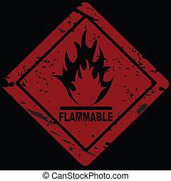 inflamável, fogo, perigo, símbolo advertindo