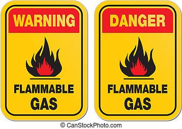 inflamable, advertencia, gas, peligro