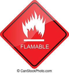 inflamable, rojo, señal