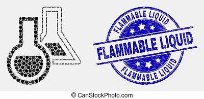 inflammable, détresse, liquide, chimique, vecteur, pixelated, cachet, verrerie, icône