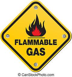 inflammable, -, essence, signe jaune