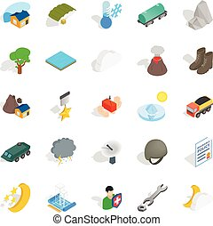 Inflammable icons set, isometric style
