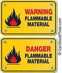 inflammable, matériel, avertissement
