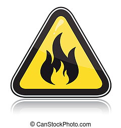 inflammable, signe., attention, triangulaire, jaune, avertissement
