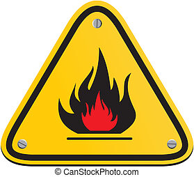 inflammable, triangle, signe jaune