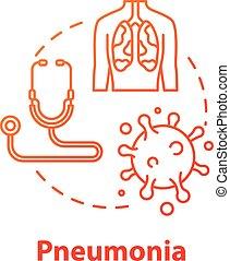 inflammation., icon., pneumonia, rgb, diagnosis., ...