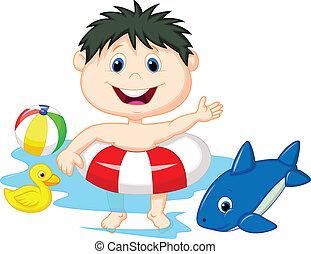 inflatabl, jongen, spotprent, zwevend