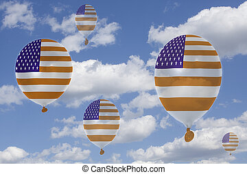 Inflatable balloons with USA flag in blue sky and clouds