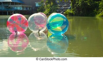 Inflatable balls for walking on water in the amusement park