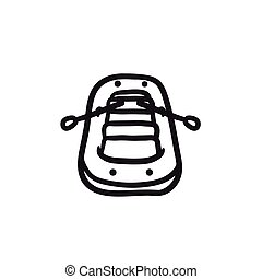 Inflatable boat sketch icon.