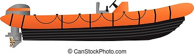 Inflatable Boat - A Vector Illustration of an Orange and...