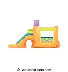 Inflatable bouncy castle in amusement park, side view vector...