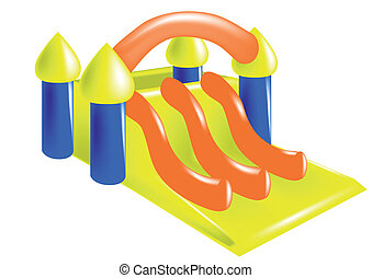 inflatable castle isolated on a white backgeound