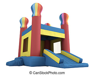 Inflatable castle isolated on white background