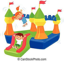 Inflatable castle trampoline. Vector flat cartoon...