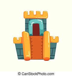 Inflatable castle with slide, summer amusement park bouncy equipment vector Illustrations on a white background
