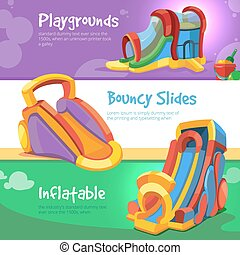 inflatable castles and childrens hills on playground