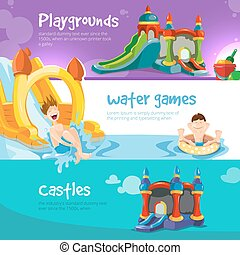 inflatable castles and childrens hills on playground -...