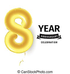 inflatable, gouden, bal, een, jaar, met, symbool, 8., vector, illustratie, of, poster, voor, achtste, jarig, vieren, van, een, kind, zakelijk, anniversary.