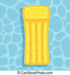 inflatable mattress isolated in pool, vector illustration