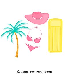 Inflatable mattress. palm tree. Female swimsuit. hat