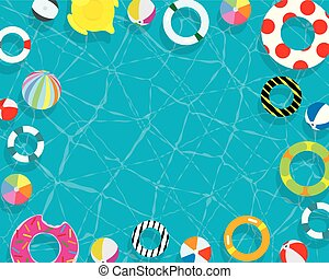 Inflatable ring and mattress swimming pool background...