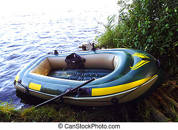 inflatable rubber boat on the river