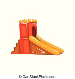 Inflatable slide, summer amusement park bouncy equipment vector Illustrations on a white background