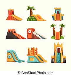 Inflatable slides set, summer amusement park bouncy equipment vector Illustrations on a white background