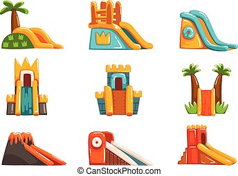 Inflatable slides set, summer amusement park bouncy...