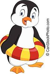 inflatable, spotprent, ring, penguin