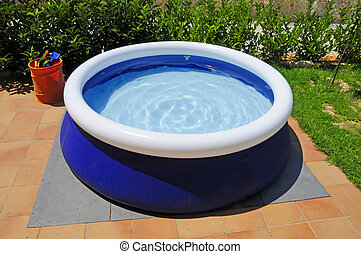inflatable swimming pool - close up of a inflatable swimming...