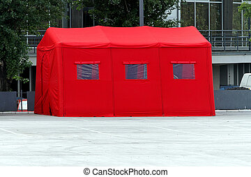 Inflatable tent - Red inflatable hospital tent in emergency...