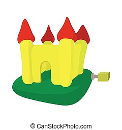 Inflatable trampoline castle cartoon icon on a white...