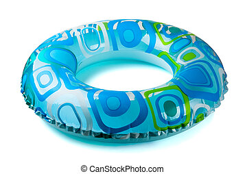 Inflatable tube - Blue inflatable round tube isolated on...