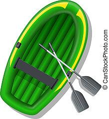 inflatable, vector, boat., illustratie
