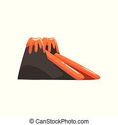 Inflatable volcano slide, summer amusement park bouncy equipment vector Illustrations on a white background