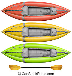inflatable whitewater kayak and paddle