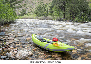 inflatable whitewater kayak on mountain river - inflatable ...