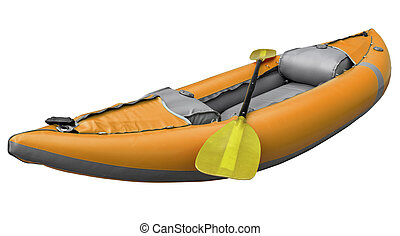 inflatable whitewater kayak with paddle - orange inflatable...