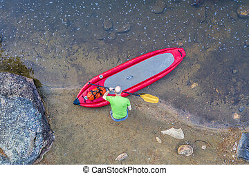 inflatable whitewater stand up paddleboard from above