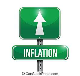 inflatie, ontwerp, straat, illustratie, meldingsbord