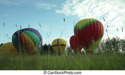 Inflating a hot air balloons