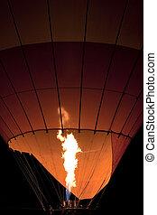 Inflating Hot Air Balloon at Night